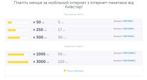 Стоимость 3G от киевстар